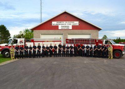 North Algona Wilberforce Rankin Station, fire trucks and fire department crew.